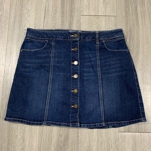 Jolt Dark Wash Button Front Denim Skirt size 9